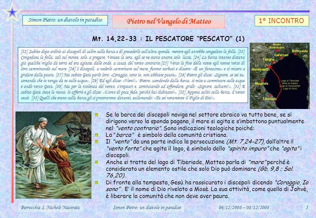 Mt. 14,22-33 : IL PESCATORE PESCATO (1) Se la barca dei discepoli naviga nel settore ebraico va tutto bene, se si dirigono verso la sponda pagana, il