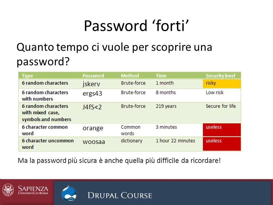 Password forti Quanto tempo ci vuole per scoprire una password? Ma la password più sicura è anche quella più difficile da ricordare!