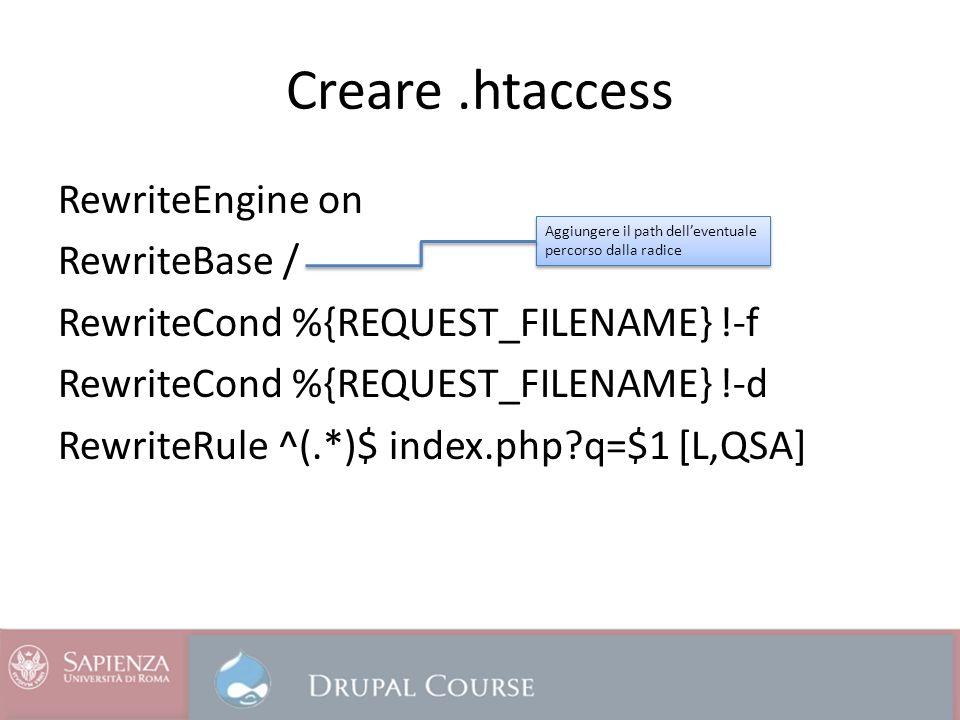 Creare.htaccess RewriteEngine on RewriteBase / RewriteCond %{REQUEST_FILENAME} !-f RewriteCond %{REQUEST_FILENAME} !-d RewriteRule ^(.*)$ index.php q=$1 [L,QSA] Aggiungere il path delleventuale percorso dalla radice