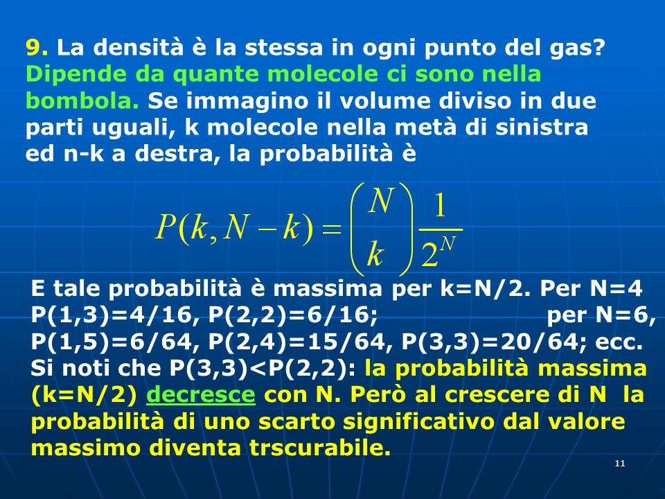 11 9. La densità è la stessa in ogni punto del gas? Dipende da quante molecole ci sono nella bombola. Se immagino il volume diviso in due parti uguali