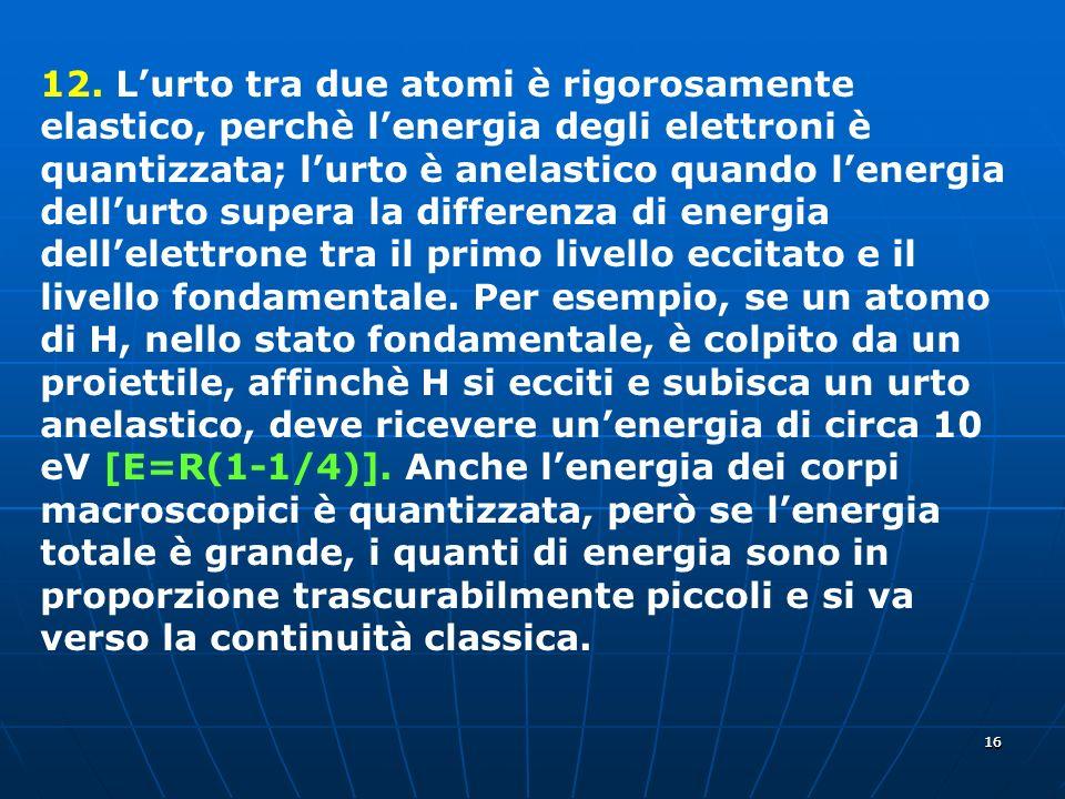 1616 12. Lurto tra due atomi è rigorosamente elastico, perchè lenergia degli elettroni è quantizzata; lurto è anelastico quando lenergia dellurto supe