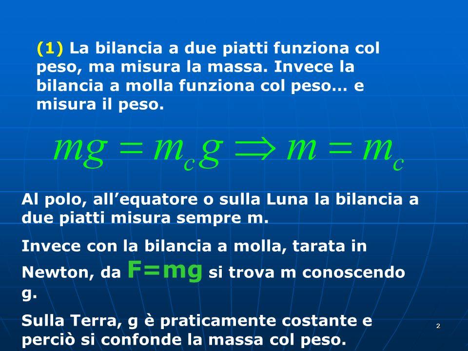 22 (1) La bilancia a due piatti funziona col peso, ma misura la massa. Invece la bilancia a molla funziona col peso… e misura il peso. Al polo, allequ
