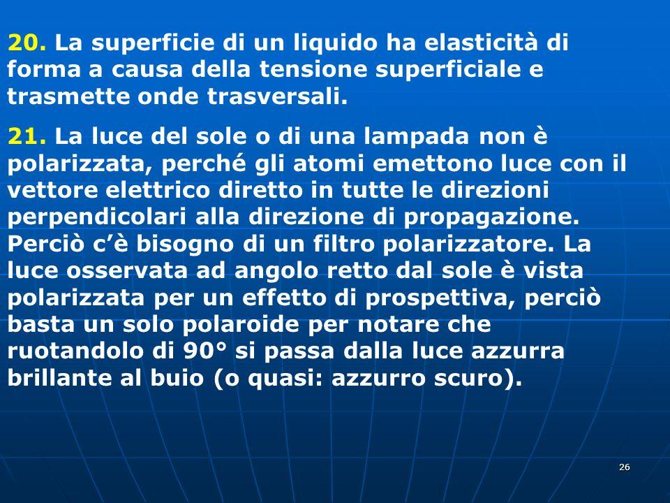 26 20. La superficie di un liquido ha elasticità di forma a causa della tensione superficiale e trasmette onde trasversali. 21. La luce del sole o di