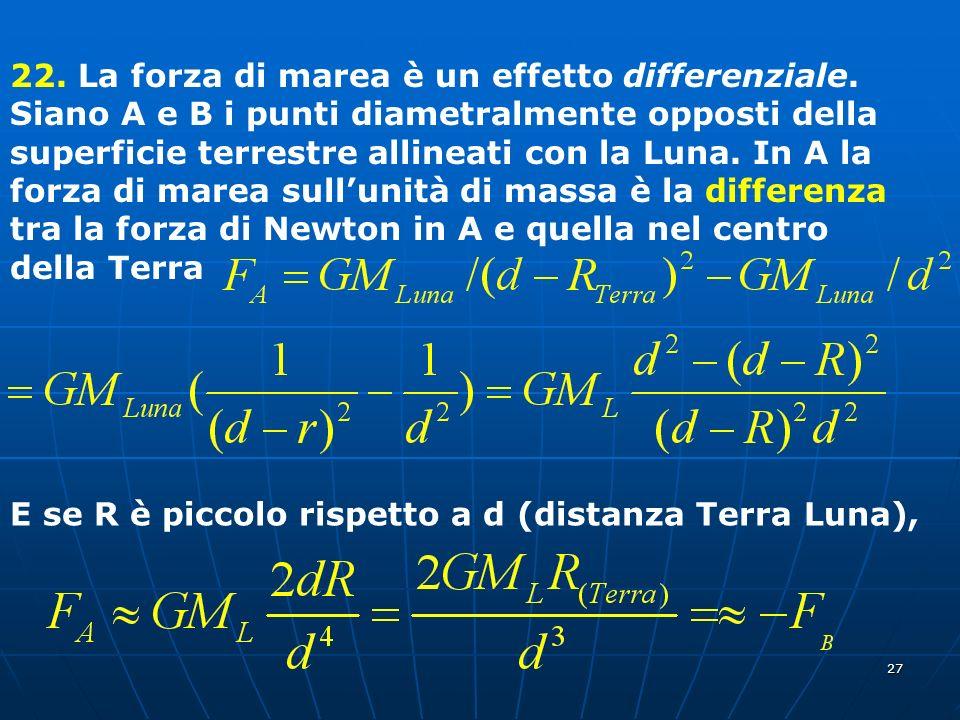 27 22. La forza di marea è un effetto differenziale. Siano A e B i punti diametralmente opposti della superficie terrestre allineati con la Luna. In A
