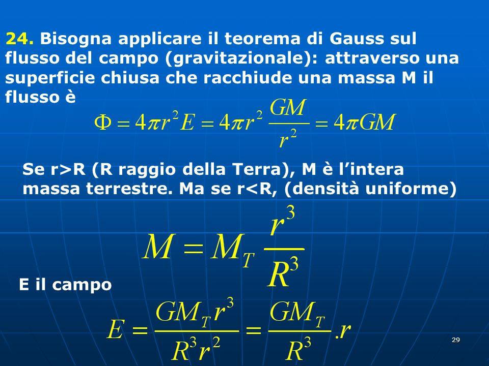 29 24. Bisogna applicare il teorema di Gauss sul flusso del campo (gravitazionale): attraverso una superficie chiusa che racchiude una massa M il flus