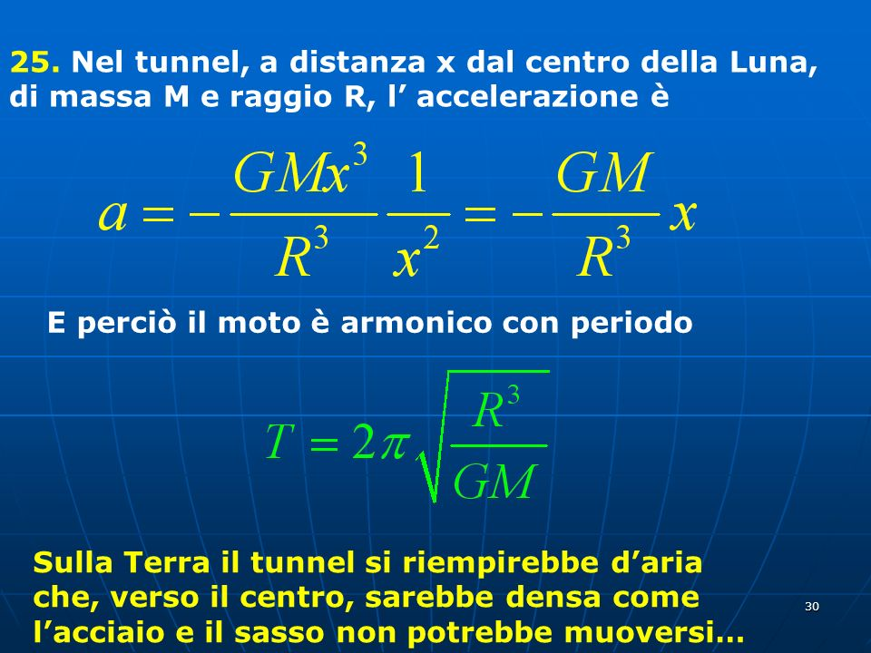 30 25. Nel tunnel, a distanza x dal centro della Luna, di massa M e raggio R, l accelerazione è E perciò il moto è armonico con periodo Sulla Terra il