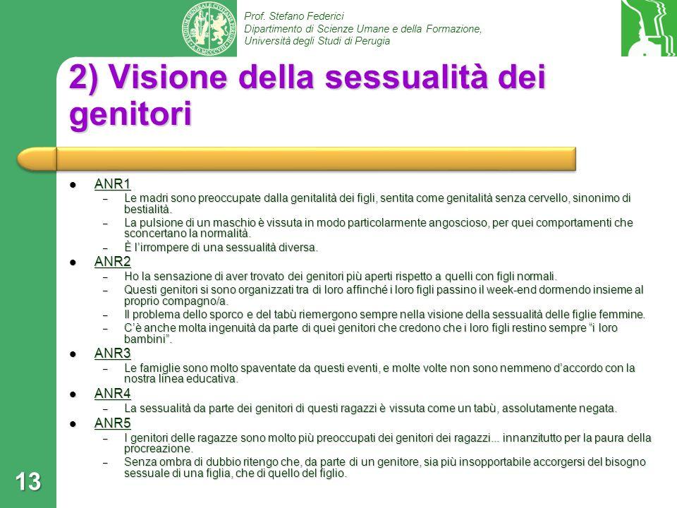 Prof. Stefano Federici Dipartimento di Scienze Umane e della Formazione, Università degli Studi di Perugia 2) Visione della sessualità dei genitori AN