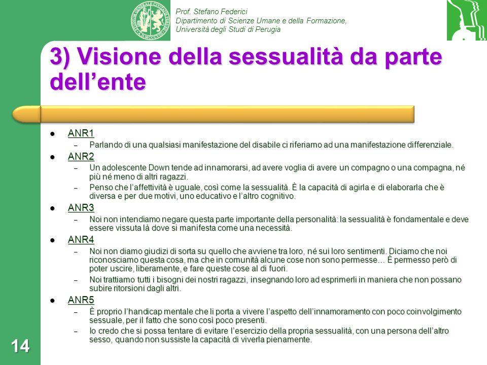 Prof. Stefano Federici Dipartimento di Scienze Umane e della Formazione, Università degli Studi di Perugia 3) Visione della sessualità da parte dellen