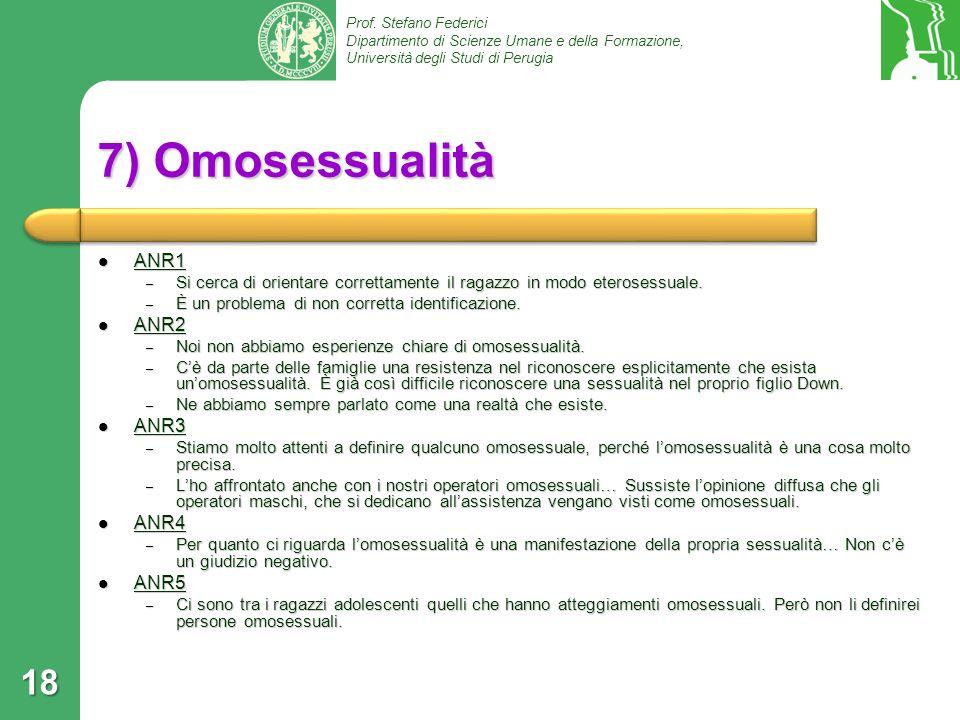 Prof. Stefano Federici Dipartimento di Scienze Umane e della Formazione, Università degli Studi di Perugia 7) Omosessualità ANR1 ANR1 – Si cerca di or