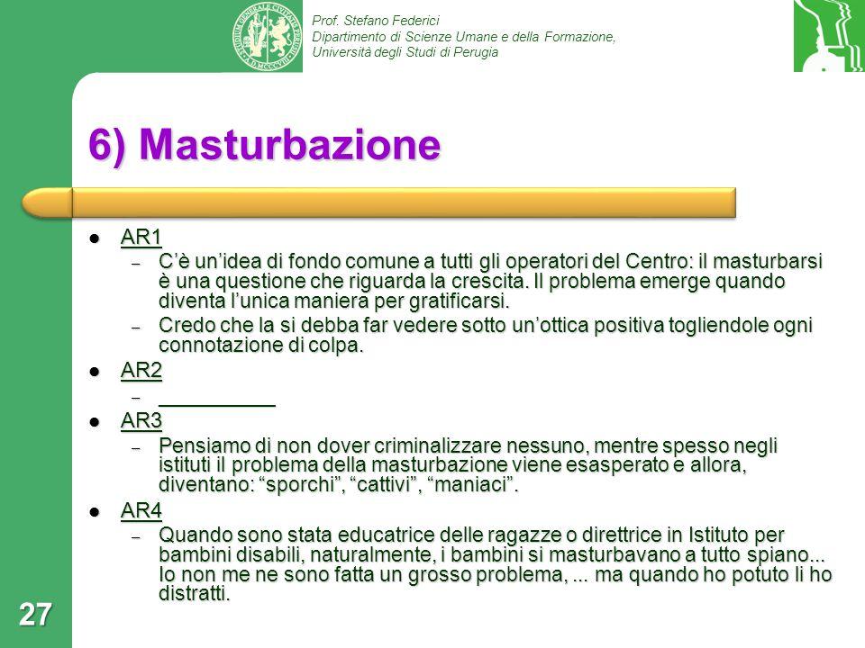 Prof. Stefano Federici Dipartimento di Scienze Umane e della Formazione, Università degli Studi di Perugia 6) Masturbazione AR1 AR1 – Cè unidea di fon