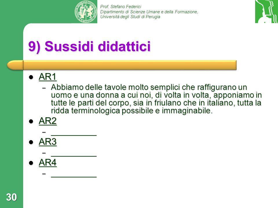 Prof. Stefano Federici Dipartimento di Scienze Umane e della Formazione, Università degli Studi di Perugia 9) Sussidi didattici AR1 AR1 – Abbiamo dell