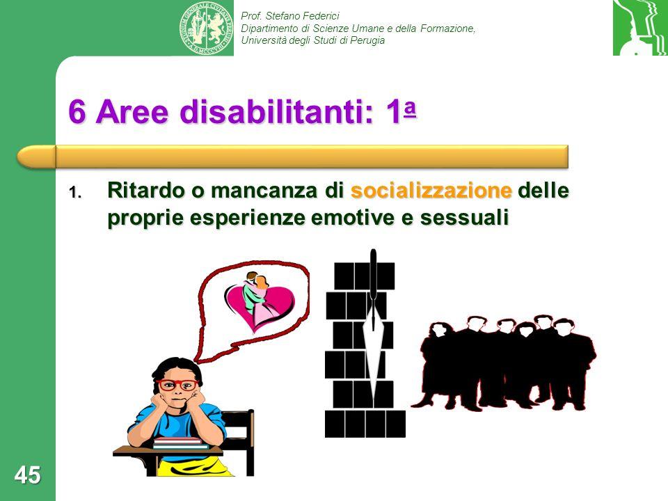 Prof. Stefano Federici Dipartimento di Scienze Umane e della Formazione, Università degli Studi di Perugia 6 Aree disabilitanti: 1 a 1. Ritardo o manc
