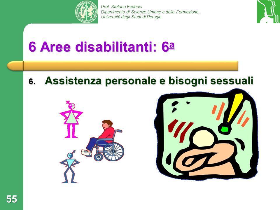 Prof. Stefano Federici Dipartimento di Scienze Umane e della Formazione, Università degli Studi di Perugia 6 Aree disabilitanti: 6 a 6. Assistenza per