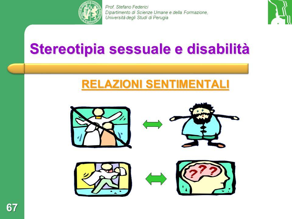 Prof. Stefano Federici Dipartimento di Scienze Umane e della Formazione, Università degli Studi di Perugia Stereotipia sessuale e disabilità RELAZIONI
