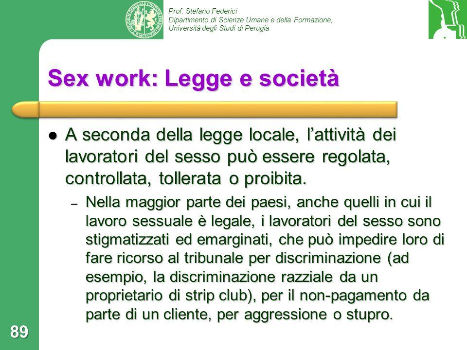 Prof. Stefano Federici Dipartimento di Scienze Umane e della Formazione, Università degli Studi di Perugia Sex work: Legge e società A seconda della l