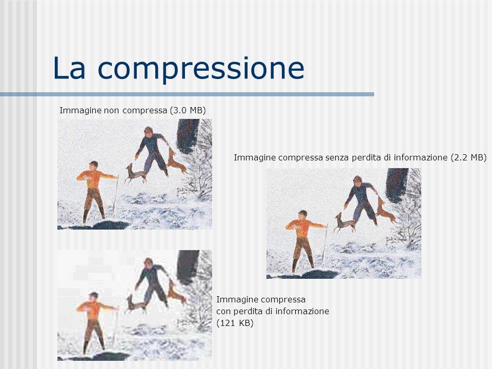 La compressione Immagine non compressa (3.0 MB) Immagine compressa senza perdita di informazione (2.2 MB) Immagine compressa con perdita di informazione (121 KB)