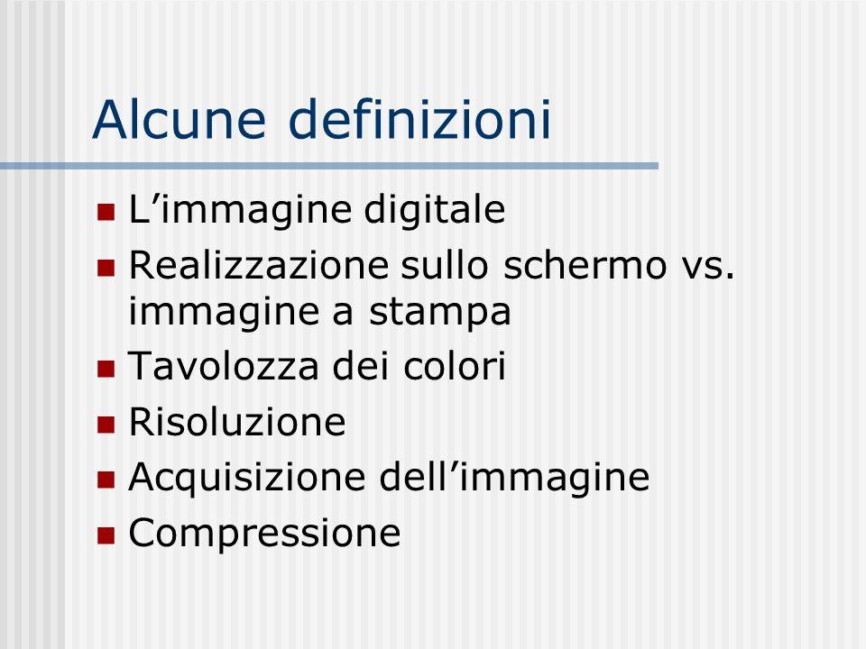 Alcune definizioni Limmagine digitale Realizzazione sullo schermo vs.