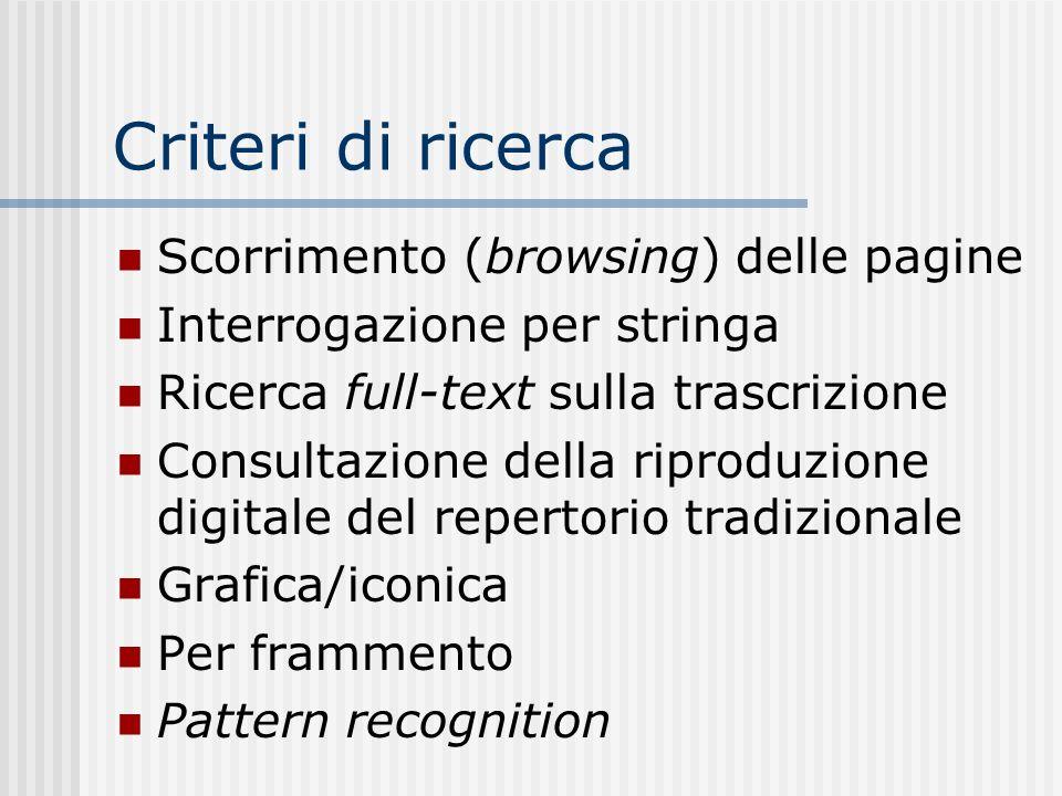 Criteri di ricerca Scorrimento (browsing) delle pagine Interrogazione per stringa Ricerca full-text sulla trascrizione Consultazione della riproduzione digitale del repertorio tradizionale Grafica/iconica Per frammento Pattern recognition