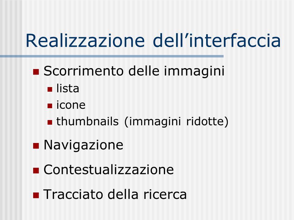 Realizzazione dellinterfaccia Scorrimento delle immagini lista icone thumbnails (immagini ridotte) Navigazione Contestualizzazione Tracciato della ricerca
