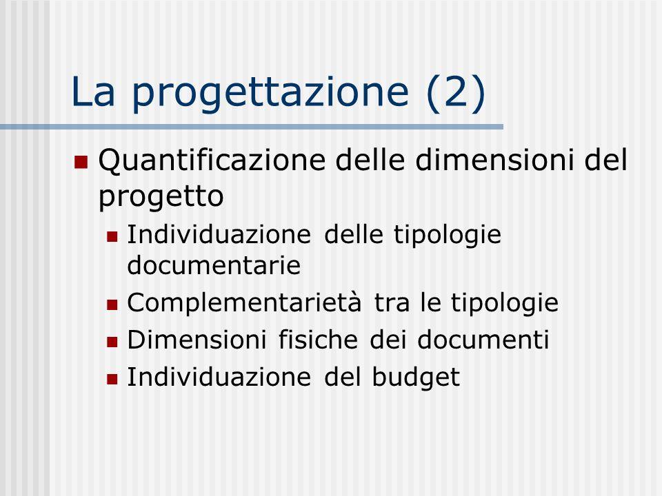 La progettazione (2) Quantificazione delle dimensioni del progetto Individuazione delle tipologie documentarie Complementarietà tra le tipologie Dimensioni fisiche dei documenti Individuazione del budget