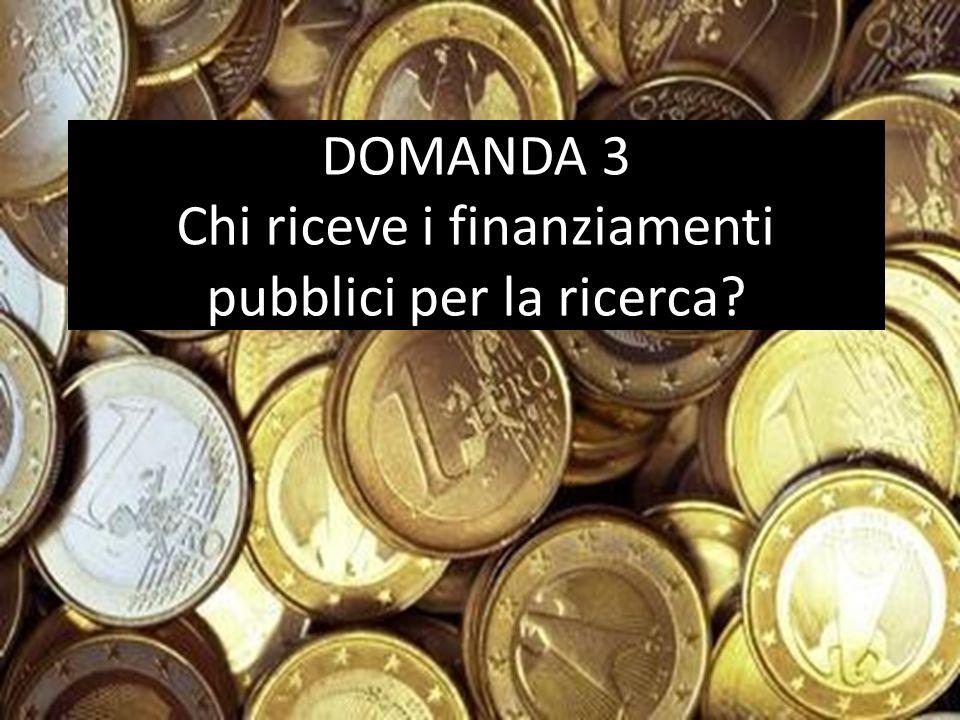 DOMANDA 3 Chi riceve i finanziamenti pubblici per la ricerca?