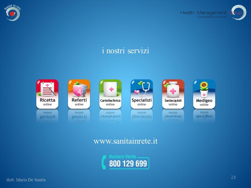 dott. Mario De Santis 28 i nostri servizi www.sanitainrete.it