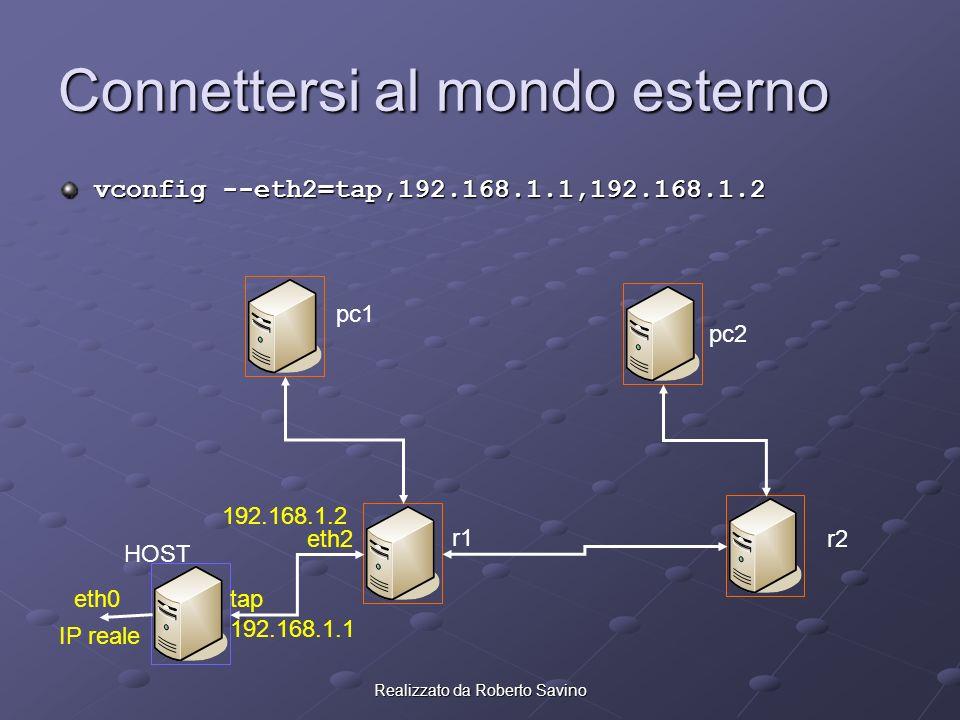 Realizzato da Roberto Savino Connettersi al mondo esterno vconfig --eth2=tap,192.168.1.1,192.168.1.2 pc1 pc2 r2 r1 HOST eth2 tap 192.168.1.1 192.168.1.2 eth0 IP reale