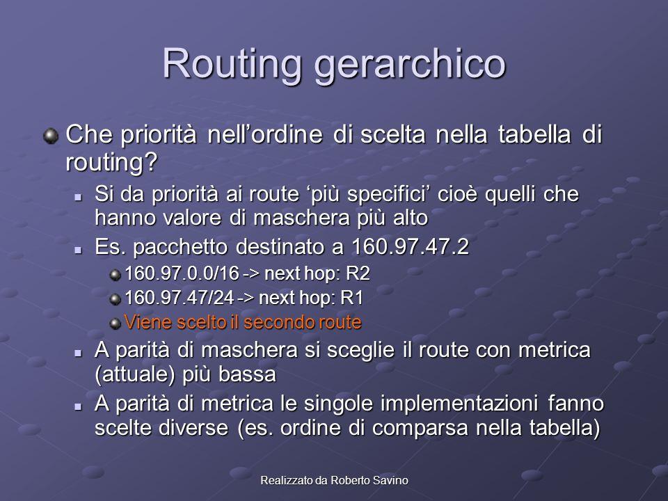Realizzato da Roberto Savino Routing gerarchico Che priorità nellordine di scelta nella tabella di routing.