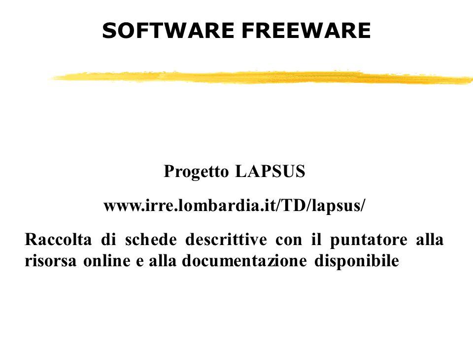 Progetto LAPSUS www.irre.lombardia.it/TD/lapsus/ Raccolta di schede descrittive con il puntatore alla risorsa online e alla documentazione disponibile