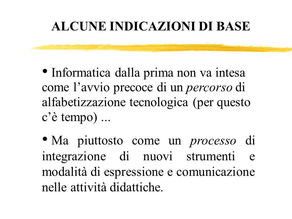 Informatica dalla prima non va intesa come lavvio precoce di un percorso di alfabetizzazione tecnologica (per questo cè tempo)... Ma piuttosto come un