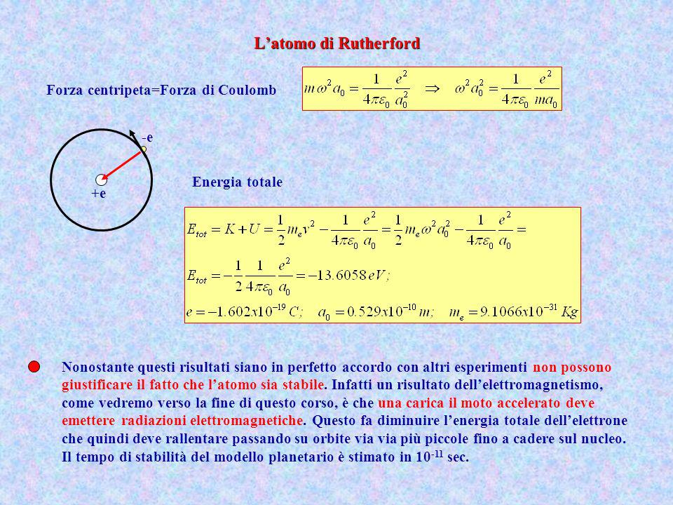 Energia totale Forza centripeta=Forza di Coulomb +e -e Nonostante questi risultati siano in perfetto accordo con altri esperimenti non possono giustif