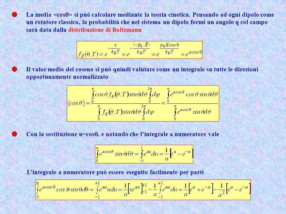 La media si può calcolare mediante la teoria cinetica. Pensando ad ogni dipolo come un rotatore classico, la probabilità che nel sistema un dipolo for