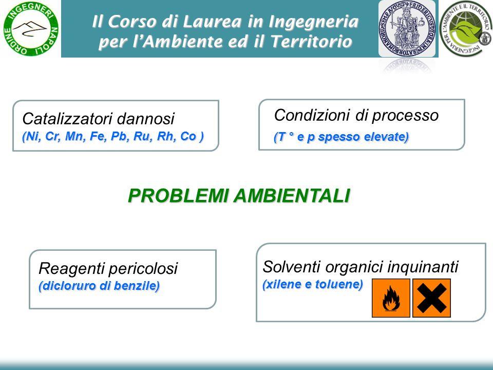Il Corso di Laurea in Ingegneria per lAmbiente ed il Territorio PROBLEMI AMBIENTALI Catalizzatori dannosi (Ni, Cr, Mn, Fe, Pb, Ru, Rh, Co ) Condizioni
