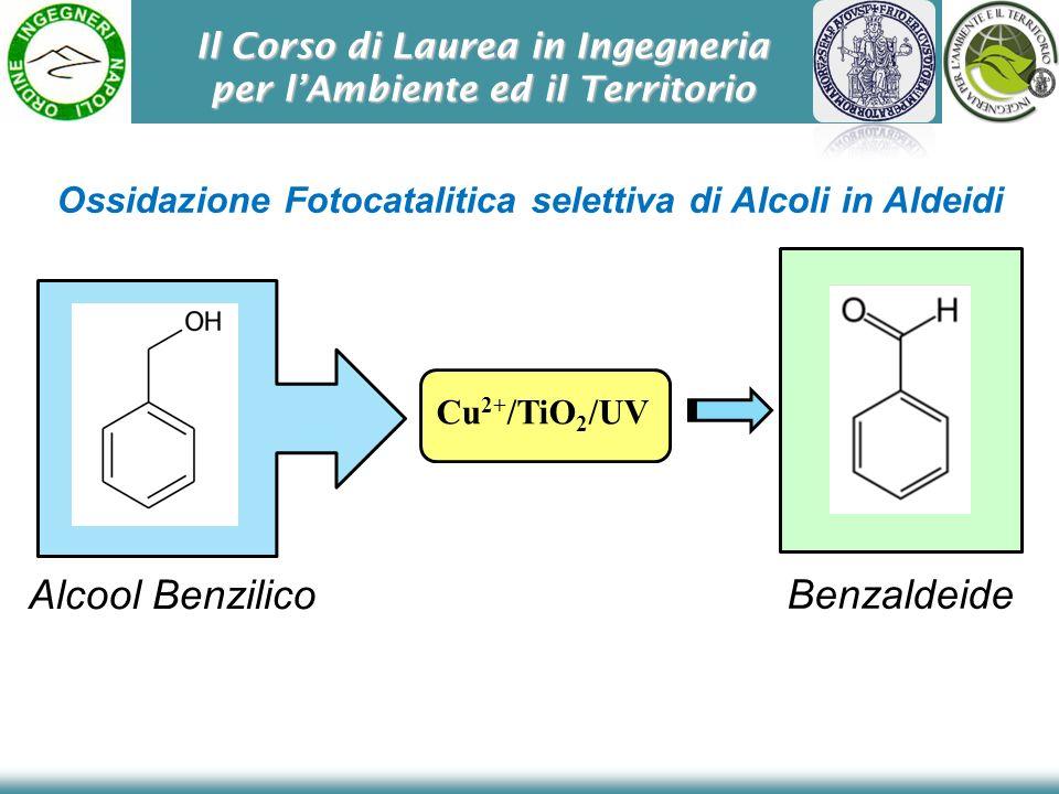 Il Corso di Laurea in Ingegneria per lAmbiente ed il Territorio Alcool Benzilico Cu 2+ /TiO 2 /UV Benzaldeide Ossidazione Fotocatalitica selettiva di