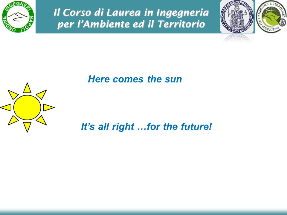 Il Corso di Laurea in Ingegneria per lAmbiente ed il Territorio Here comes the sun Its all right …for the future!
