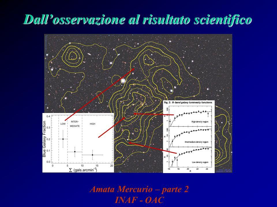 Determinazione della massa di una galassia ….sostituendo nel teorema del viriale, si ottiene: - GM/ = 2 Le quantità fisiche presenti in questa espressione, possono essere legate alle quantità osservate: σ 2 2 r Ottenendo, così, una stima della massa: M = - r σ 2 /G