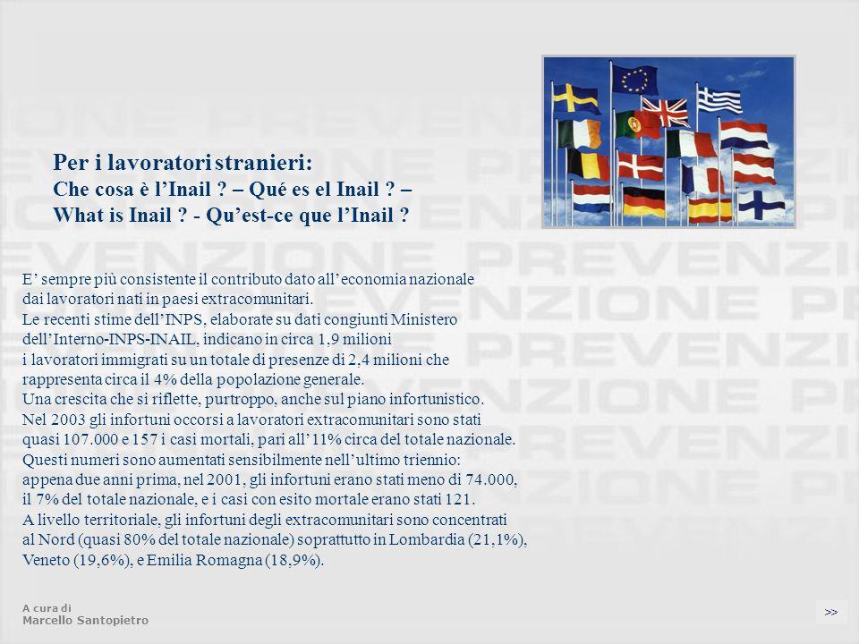 Per i lavoratori stranieri: Che cosa è lInail .– Qué es el Inail .