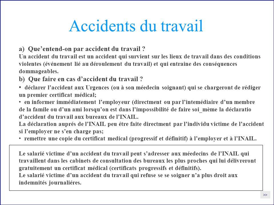 Accidents du travail a) Queentend-on par accident du travail .