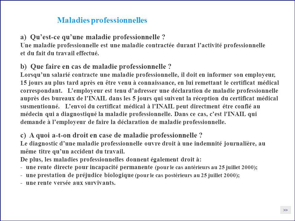 Maladies professionnelles a) Quest-ce quune maladie professionnelle .
