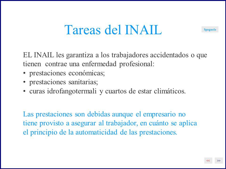 Tareas del INAIL Spagnolo EL INAIL les garantiza a los trabajadores accidentados o que tienen contrae una enfermedad profesional: prestaciones económicas; prestaciones sanitarias; curas idrofangotermali y cuartos de estar climáticos.