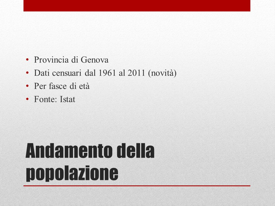 Andamento della popolazione Provincia di Genova Dati censuari dal 1961 al 2011 (novità) Per fasce di età Fonte: Istat