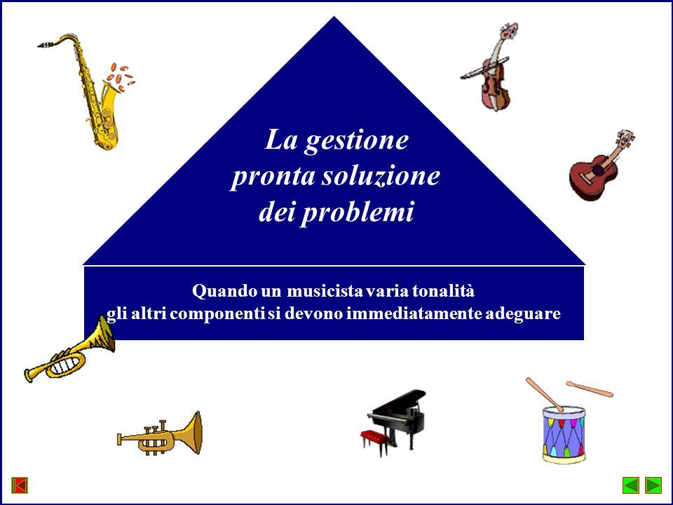 La gestione pronta soluzione dei problemi Quando un musicista varia tonalità gli altri componenti si devono immediatamente adeguare