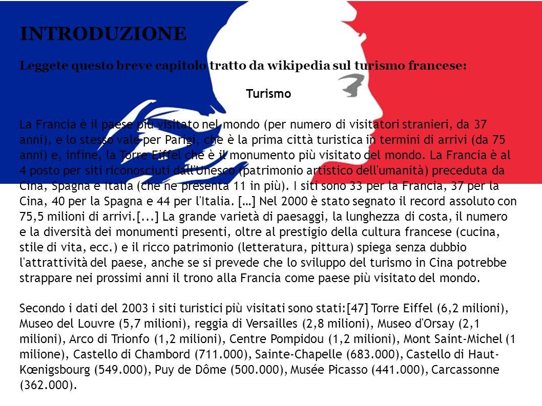 COMPITO Data la rilevanza turistica della Francia, dovrete elaborare un documento (dépliant, opuscolo, presentazione, ecc.