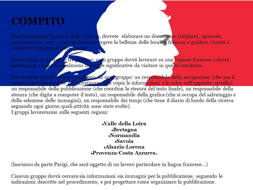 COMPITO Data la rilevanza turistica della Francia, dovrete elaborare un documento (dépliant, opuscolo, presentazione, ecc. …) in cui farete emergere l