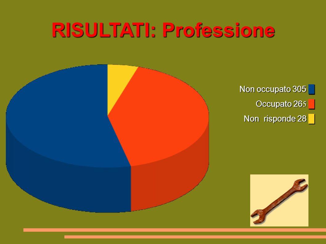 RISULTATI: Professione Non occupato 305 Occupato 26 5 Non risponde 28 Non occupato 305 Occupato 26 5 Non risponde 28