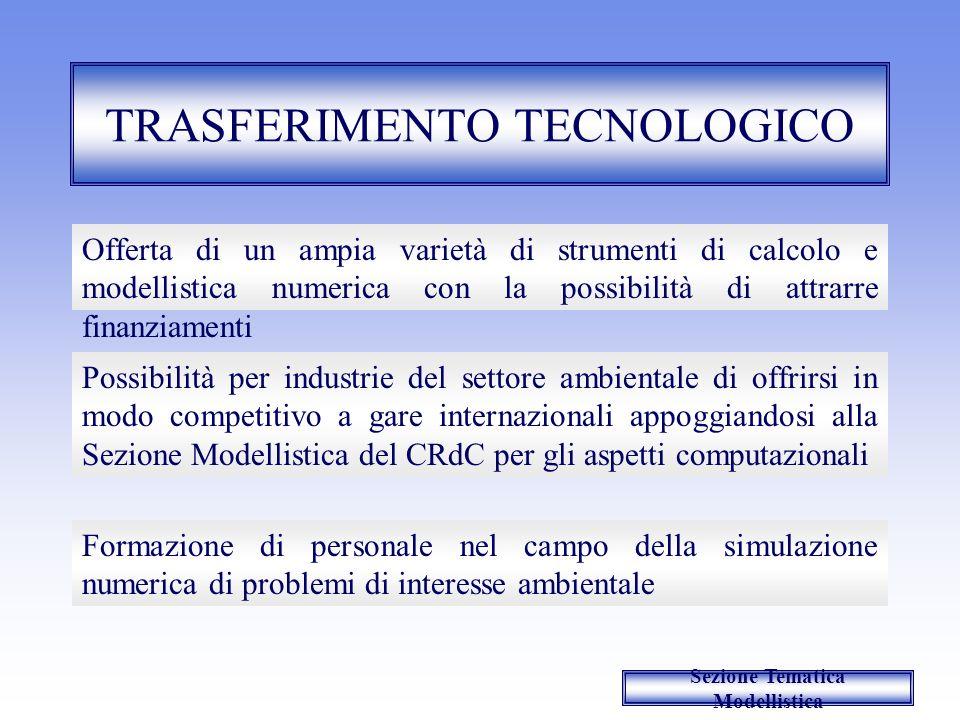 TRASFERIMENTO TECNOLOGICO Possibilità per industrie del settore ambientale di offrirsi in modo competitivo a gare internazionali appoggiandosi alla Se