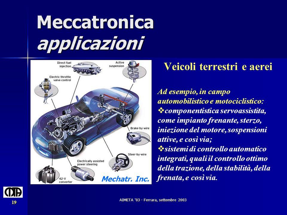 AIMETA '03 - Ferrara, settembre 2003 19 Meccatronica applicazioni Veicoli terrestri e aerei Ad esempio, in campo automobilistico e motociclistico: com