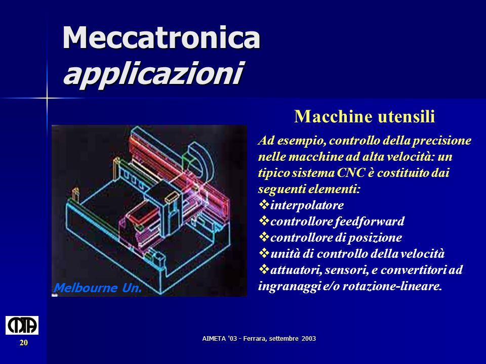 AIMETA '03 - Ferrara, settembre 2003 20 Meccatronica applicazioni Macchine utensili Ad esempio, controllo della precisione nelle macchine ad alta velo