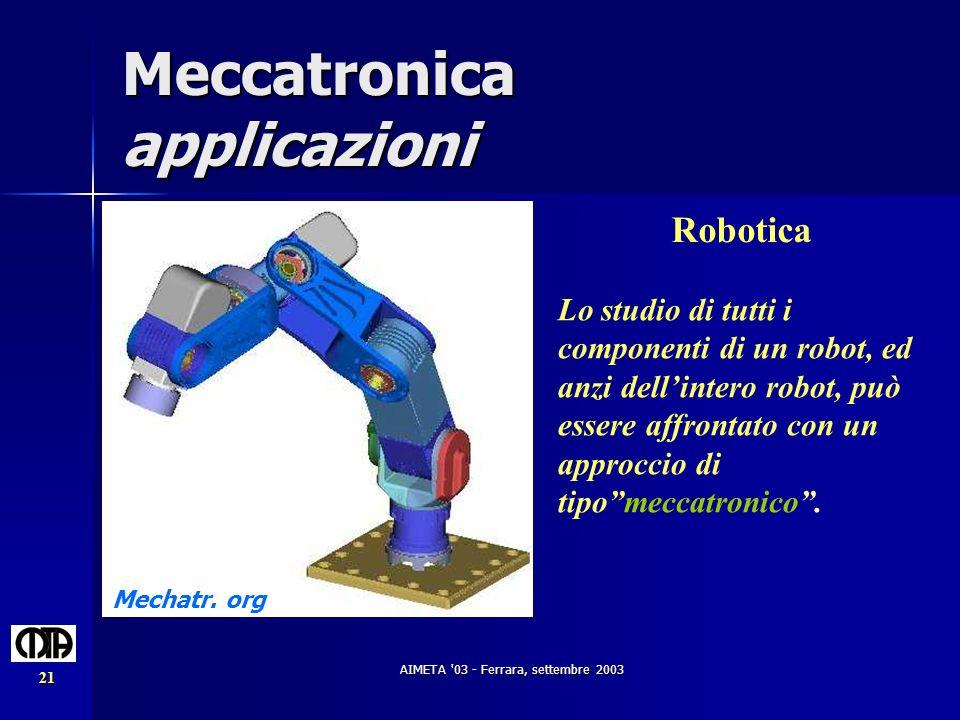 AIMETA '03 - Ferrara, settembre 2003 21 Meccatronica applicazioni Robotica Mechatr. org Lo studio di tutti i componenti di un robot, ed anzi dellinter