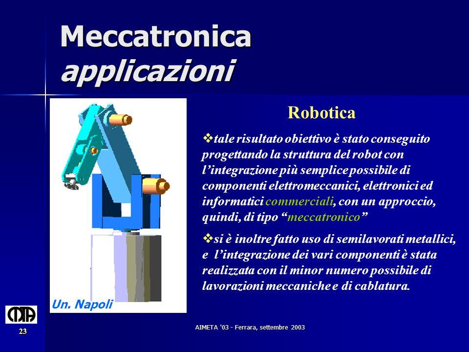 AIMETA '03 - Ferrara, settembre 2003 23 Meccatronica applicazioni Robotica tale risultato obiettivo è stato conseguito progettando la struttura del ro